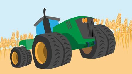 Vector illustration of agriculture with a tractor in the field. 일러스트