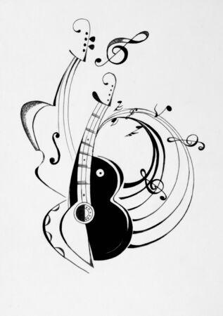 chiave di violino: Immagine di chitarra con le note musicali Archivio Fotografico