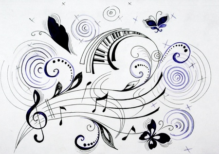 Picture of flying musical notes with some geometrical elements photo