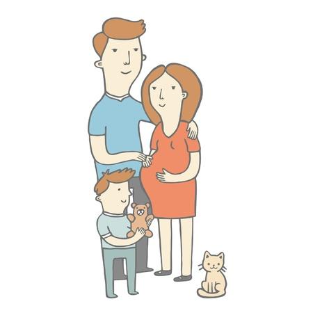 Happy family, pregnancy