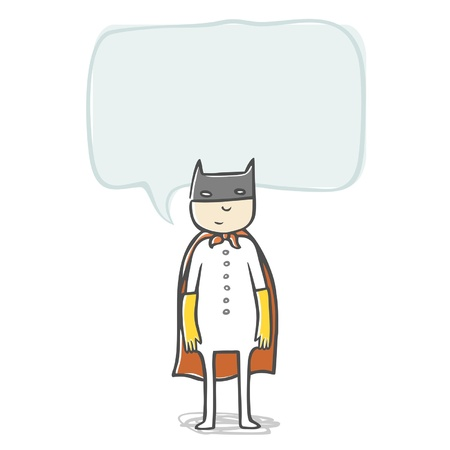 Little boy superhero, speech bubble for your text. Vector