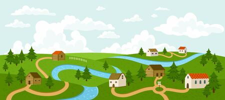 villages: Landscape with trees, houses, roads and river, vector illustration.