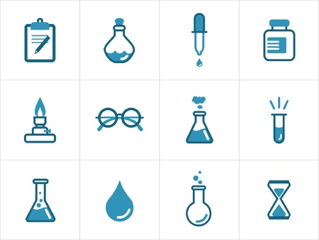 laboratory equipment: Science icon set for your products and projects, easy to edit, resize and colorize.