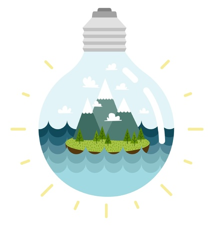 Eco-friendly lightbulb, with an island inside Illustration