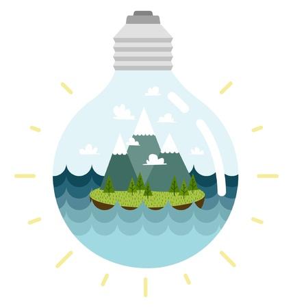 Eco-friendly lightbulb, with an island inside Illustration