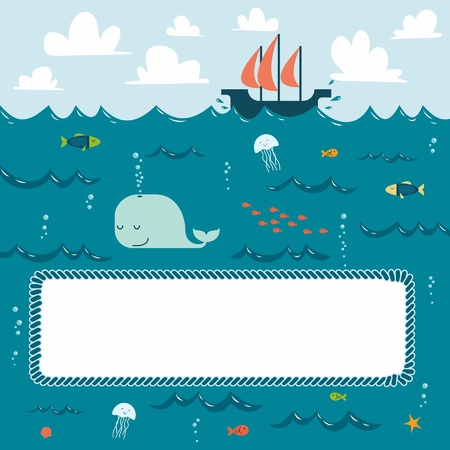 Sea creatures and decorative frame for your text Vector
