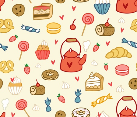 Seamless party sweets and treats pattern in vector Vector