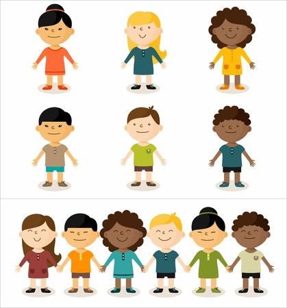 mixed ethnicities: Vector illustration - cute smiling multicultural children.All elements can easily be changed to fit your layout.