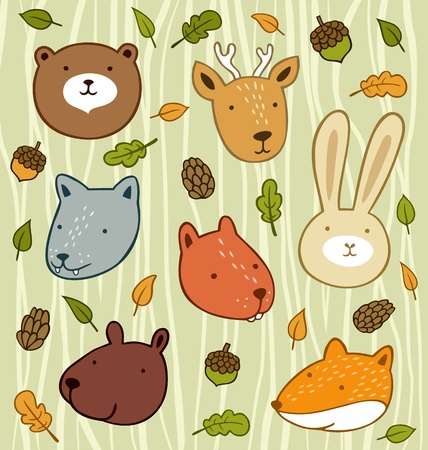 Forest animals set with leaves and acorns isolated on wooden background