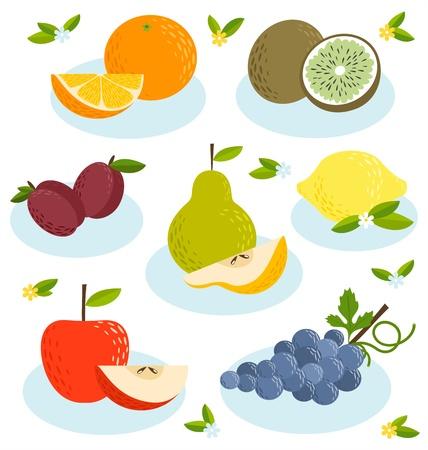 limon caricatura: El verano se acerca, las frutas frescas establecido