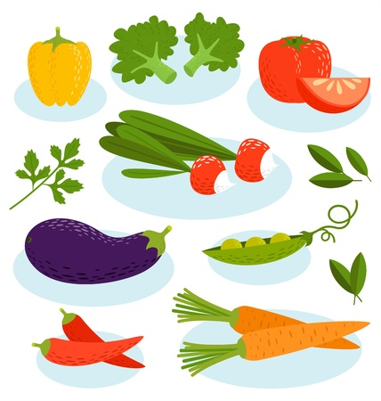 Summer is on, fresh vegetables set Illustration