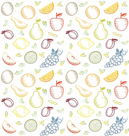 Seamless summer fruit pattern Vector