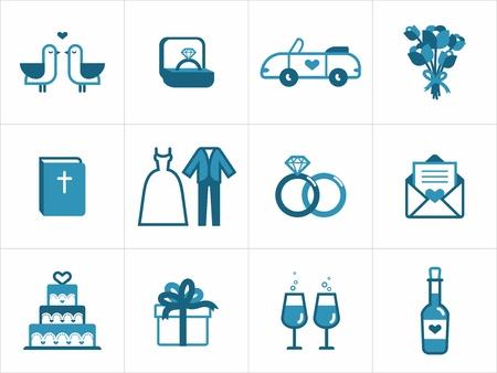 anillo de compromiso: Icono de la boda fijada para sus productos y proyectos, fácil de editar, cambiar el tamaño y colorear