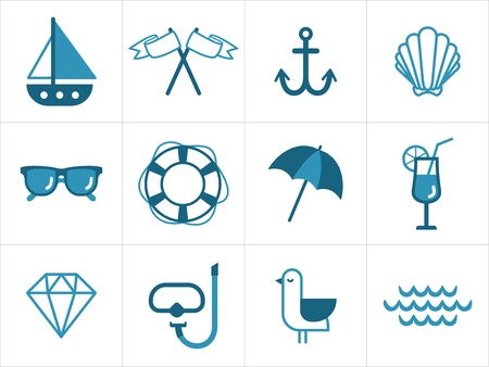 Set of various nautical icons Illustration