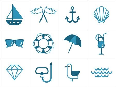 snorkel: Set of various nautical icons Illustration