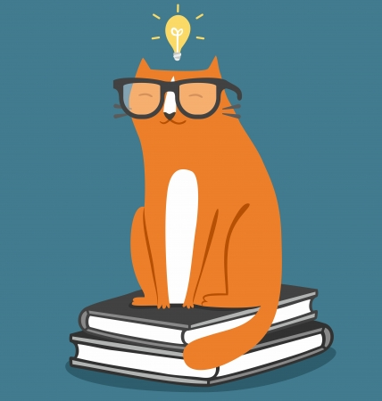 Cat in glasses fun school illustration Vector