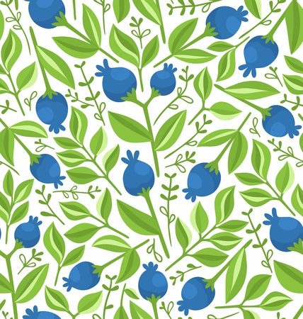 blueberries: Berries seamless pattern, background illustration Illustration