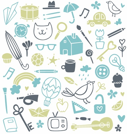 Background set of 50 different doodles Illustration