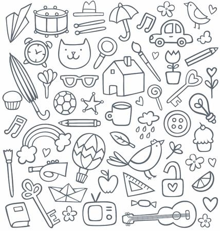 set of 50 doodles Vettoriali