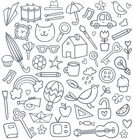 set of 50 doodles 矢量图像