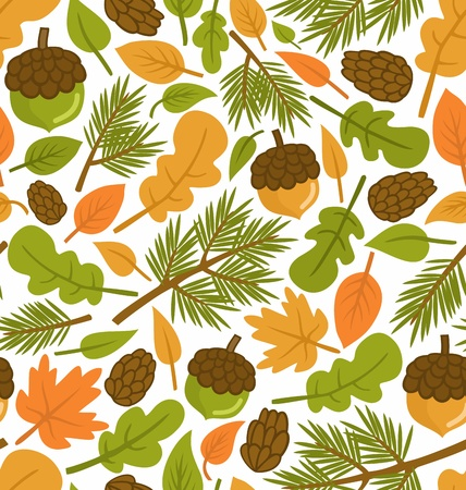 Seamless pattern with forest elements, scalable and editable