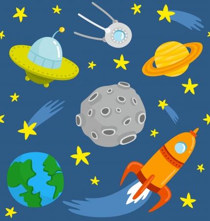 nave espacial: Espa�o dos desenhos animados teste padr�o sem emenda. Ilustra��o