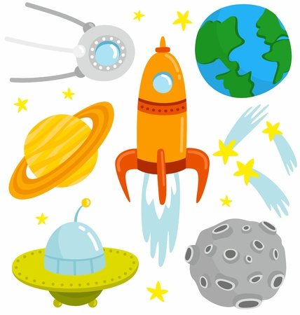 spacecraft: Cartoon space set with elements. Illustration