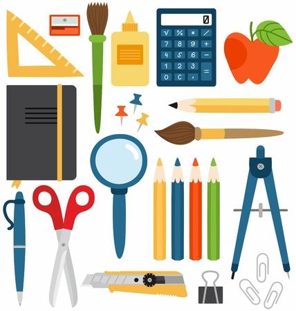 Set of different school items