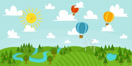 Landscape illustration with forest, hot air balloons, river and wind mills.