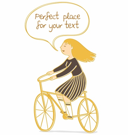 illustration of a girl riding a bicycle with speech bubble for your text. Vector