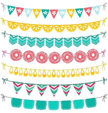 bunting flags: Bunting and garland decoration set