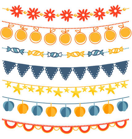 Bunting and garland decoration set Vector