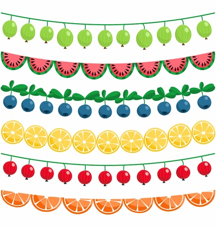 Berries and fruits garland decoration vector set