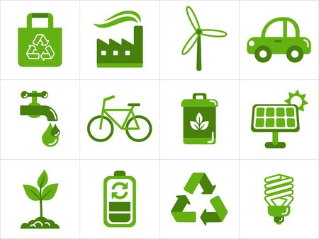 resize: Eco icons set, easy to edit, re-size and colorize