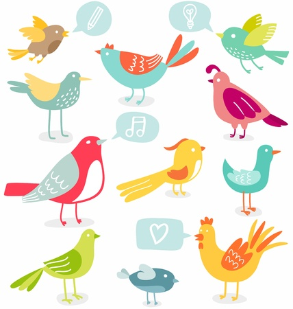 cartoon birds: Cute colored birds with signs vector illustration