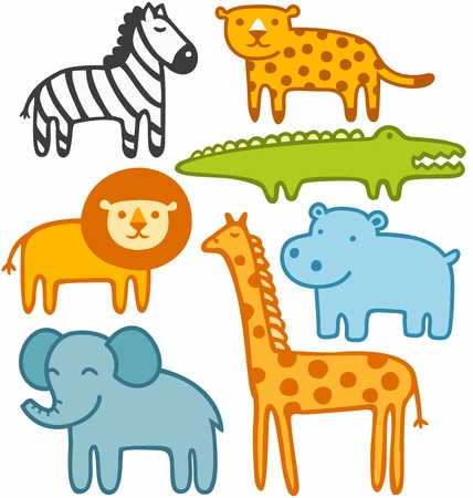 Wild animals vector illustration set