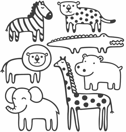 Wild animals in black and white vector illustration set Ilustração
