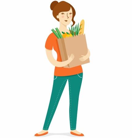 bolsa de pan: Muchacha con la tienda de comestibles de papel bolso de compras Vectores