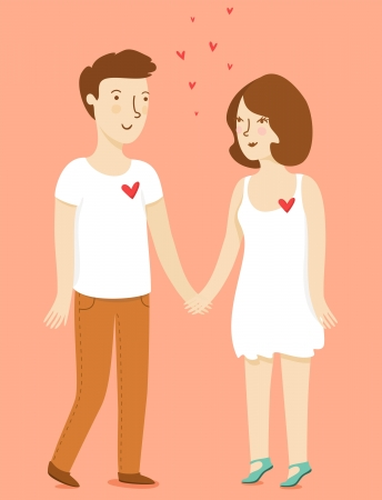 Boy and girl holding hands Illustration