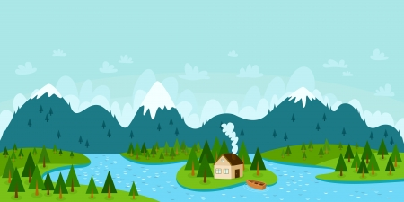 panoramic sky: Landscape vector illustration with mountains, forest, river, island with house and boat
