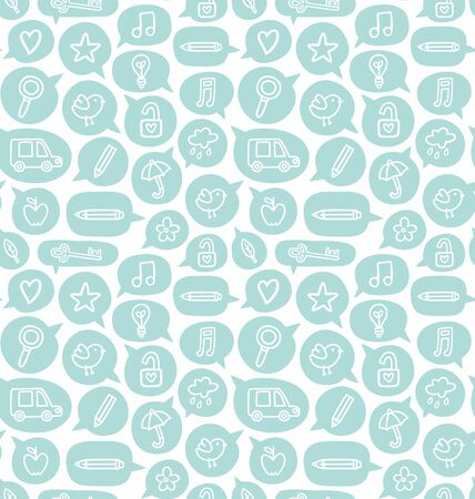 bubble car: Seamless pattern with speech bubbles and various objects
