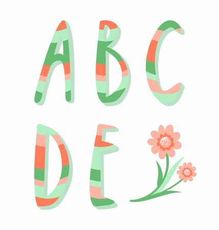Striped alphabet letters a,b,c,d,e Vector