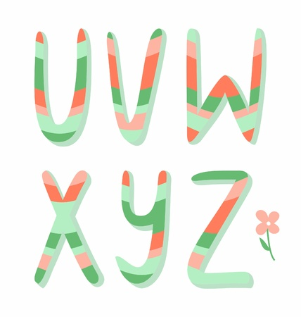 Striped alphabet letters u,v,w,x,y,z Vector