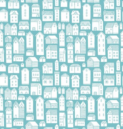 cartoon house: Seamless vector pattern with various cartoon houses