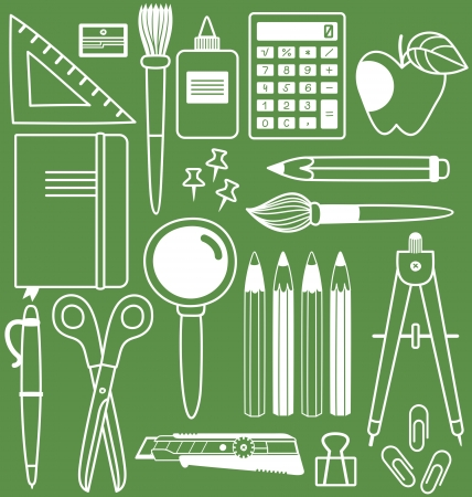 Stationery set of different school items, vector illustration. Vector