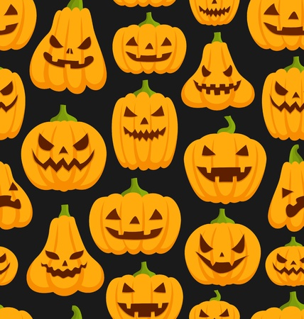 Seamless pattern with Halloween pumpkins