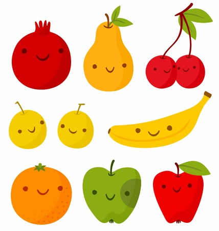 Set of cute smiling fruits. Vector illustration, EPS + AI Vector