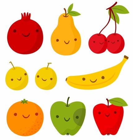 apple character: Set of cute smiling fruits. Vector illustration, EPS + AI Illustration