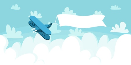 Cloudscape with plane and placard. Vector illustration background. Illustration