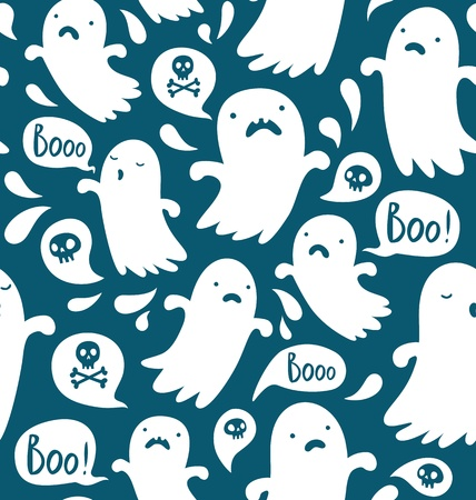 cute ghost: Seamless Halloween pattern with various spooky ghosts
